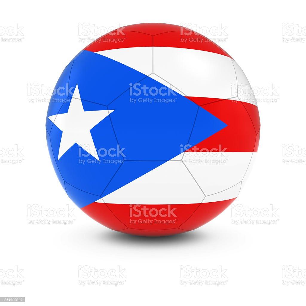 Puerto Rico Football - Puerto Rican Flag on Soccer Ball stock photo