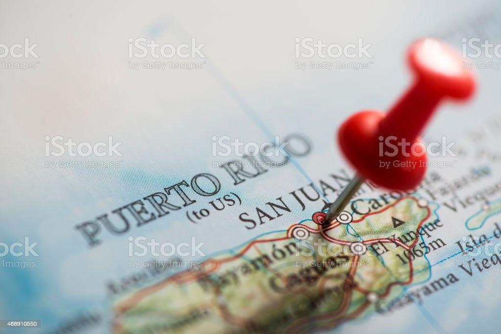 Puerto Rico Pinned on Map stock photo