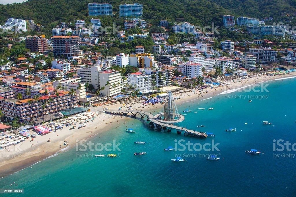 Puerto Vallarta bay from the air. stock photo