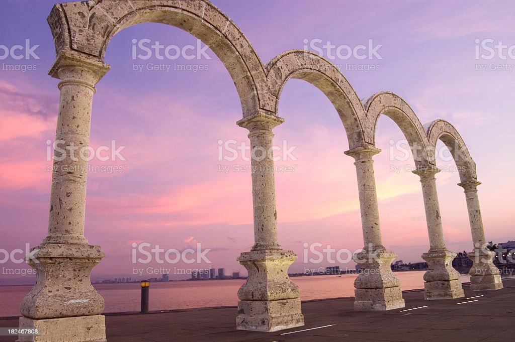 "Puerto Vallarta Beachfront Boulvard ""Los Arcos"" Mounument stock photo"