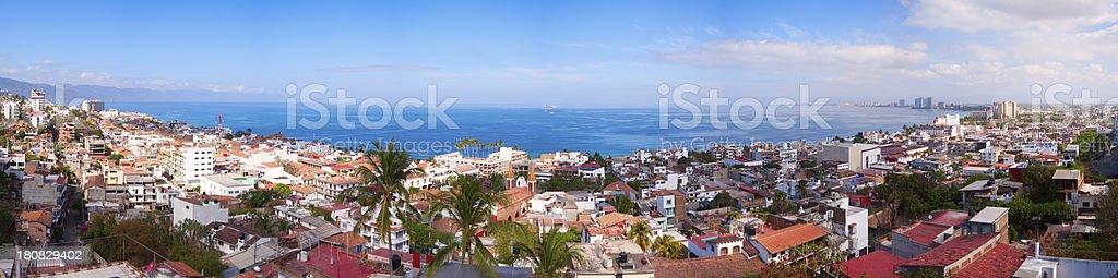 Puerto Vallarta Cruise Ship Panorama stock photo
