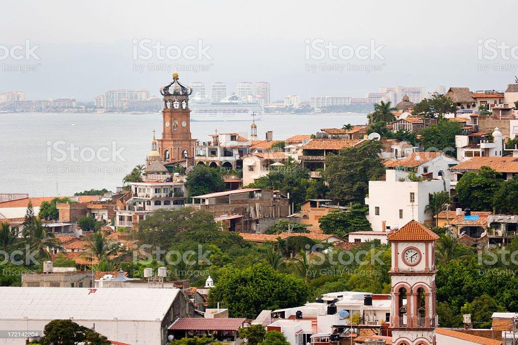 Puerto Vallarta Mexico, City, Beach Vacation, Travel with Cruise Ship stock photo