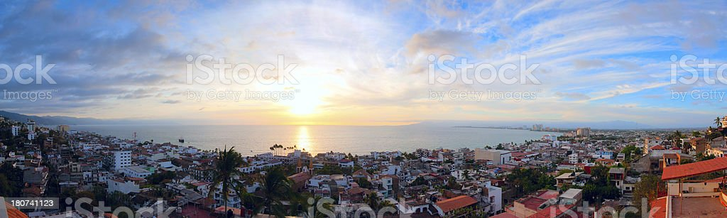 Puerto Vallarta Pirate Ship Sunset Panorama stock photo