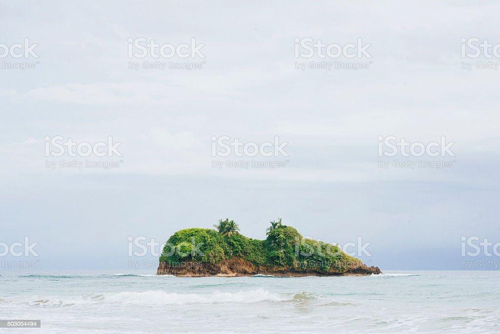 Puerto Viejo Costa Rica Island in Sea Rainy Weather Overcast stock photo