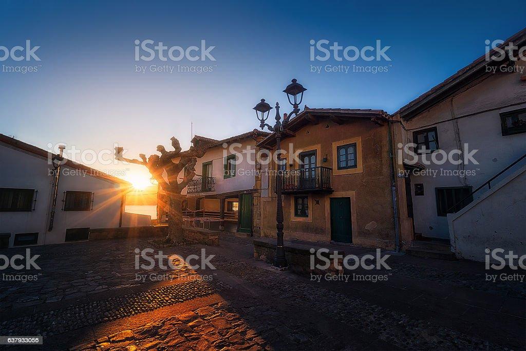 Puerto Viejo of Algorta at sunset stock photo
