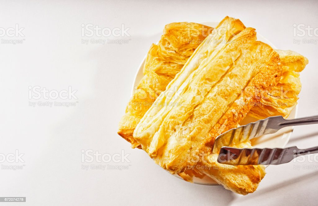 Puff pastries on the table stock photo