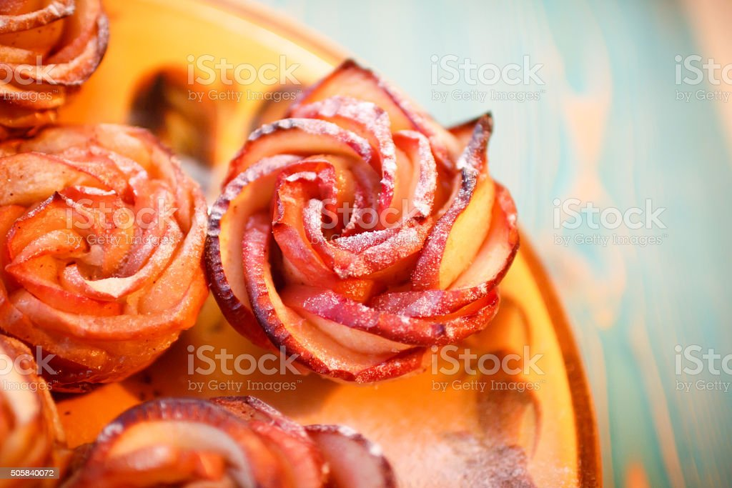 puff pastry apple rose close-up stock photo