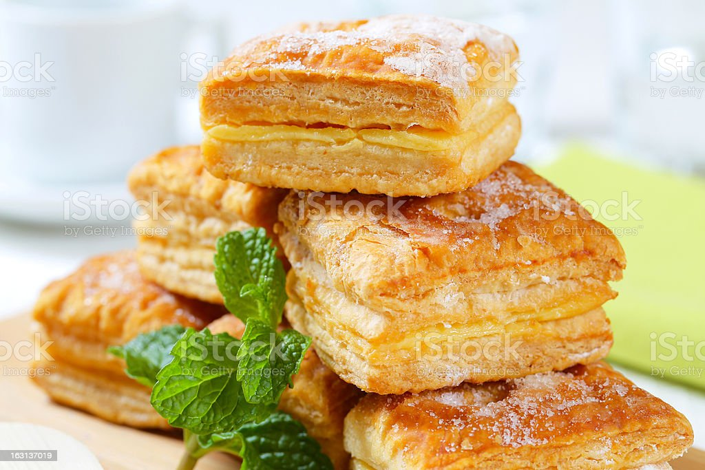Puff pastry filled with pudding royalty-free stock photo