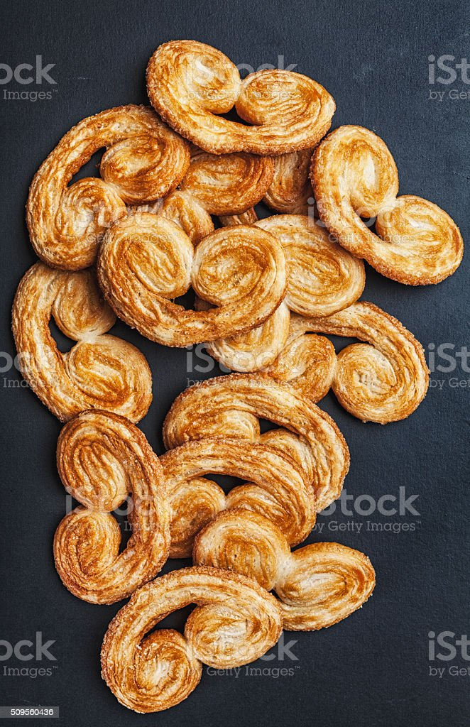 Puff Pastry, French Palmiers Cookies stock photo