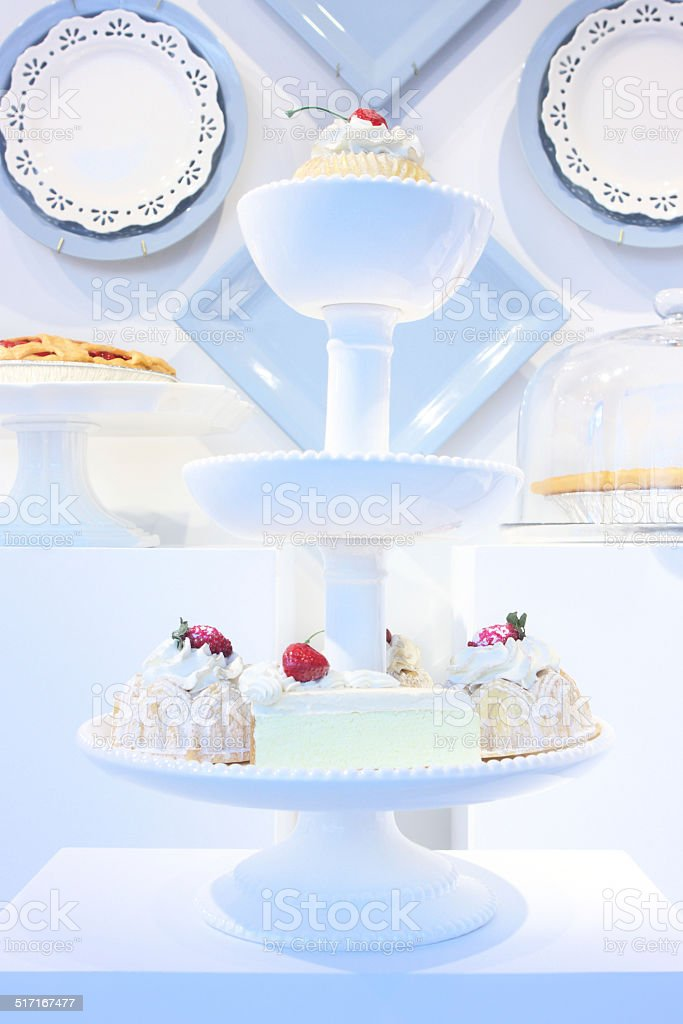 Puff Pastry Pie Baked Goods Display stock photo