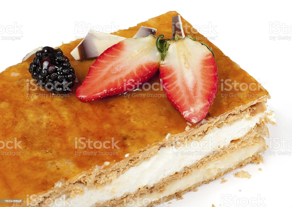 Puff pastry pie with strawberries and cream royalty-free stock photo
