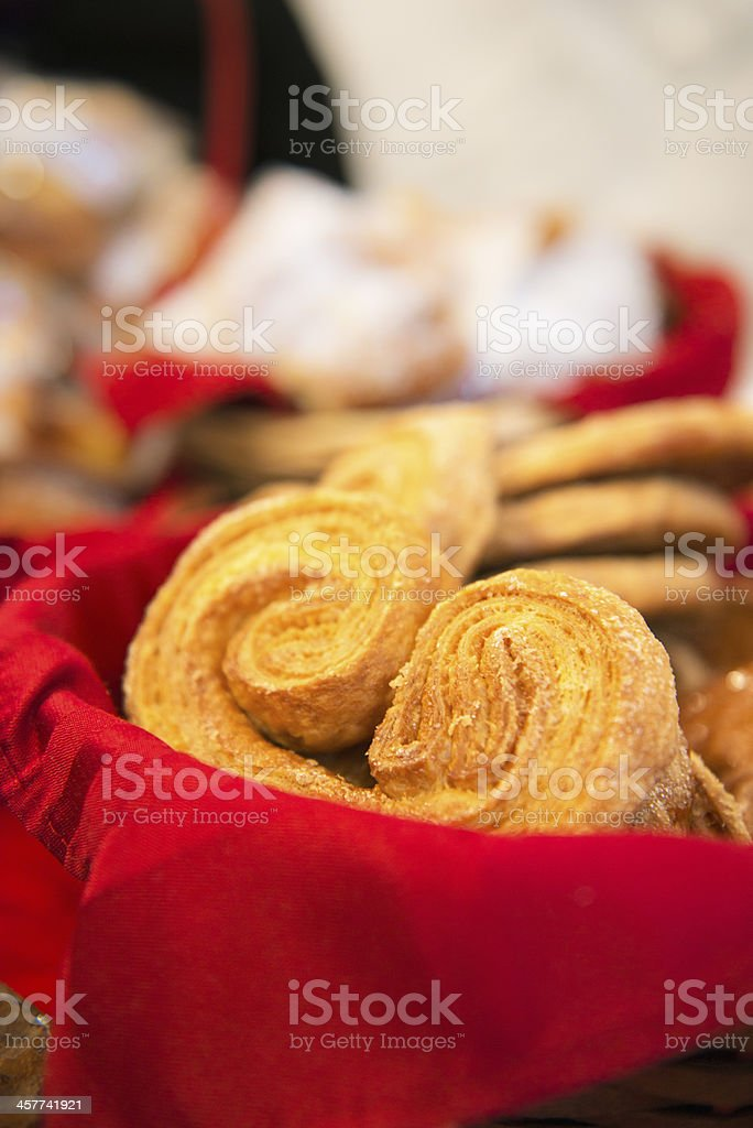 Puff pastry. Sweet palmier cookies stock photo