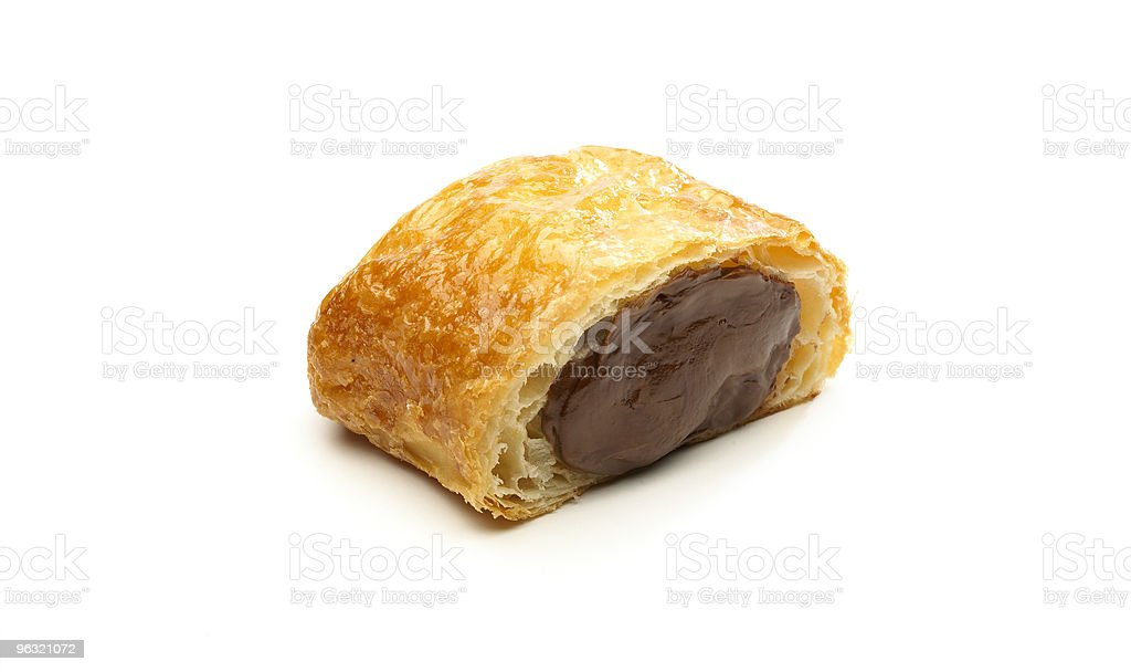 Puff pastry with chocolate inside stock photo