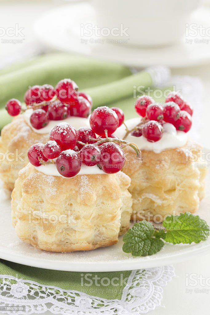 Puff pastry with cream and currant. royalty-free stock photo