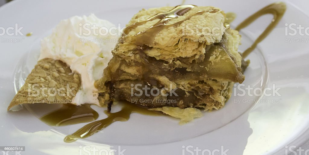 Puff pastry with cream stock photo