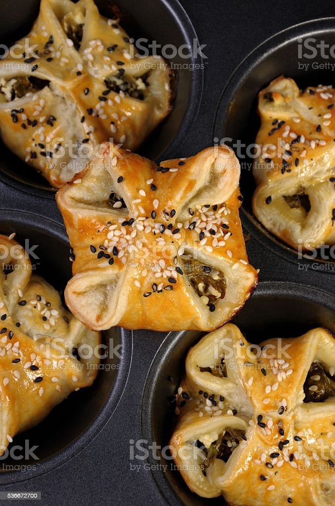puff pastry  with spinach and ricotta stock photo