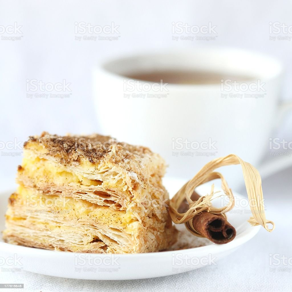 Puff pie with cream royalty-free stock photo
