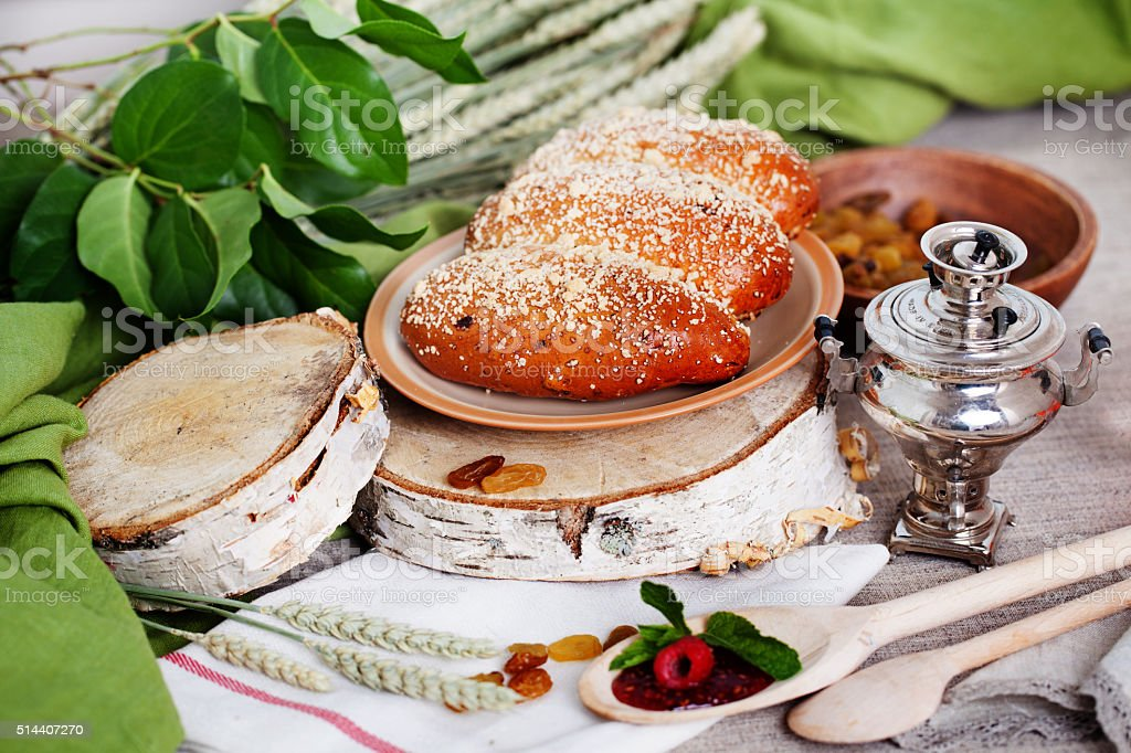 puff with raisins and powdered sugar Russian still life stock photo