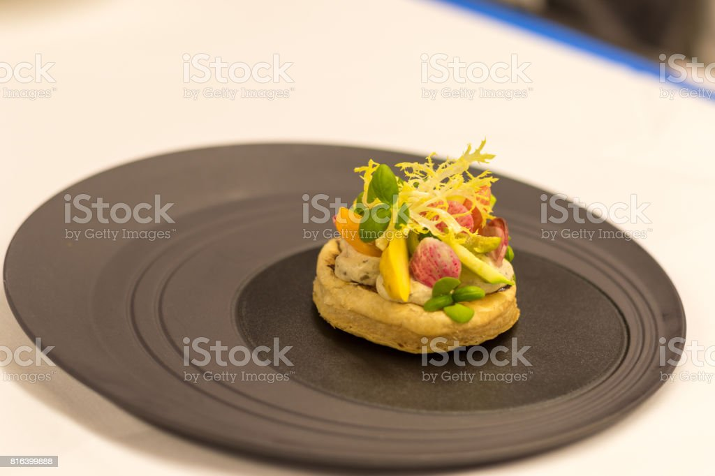 puffed pastry veggie tart stock photo