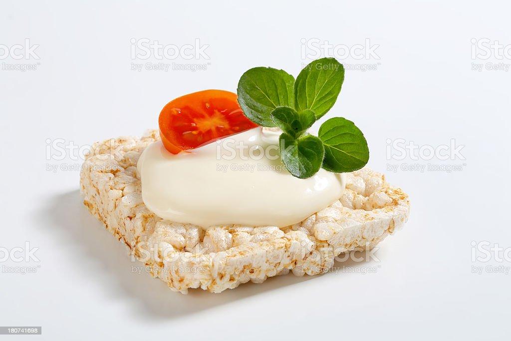 puffed rice crispbread with yoghurt royalty-free stock photo