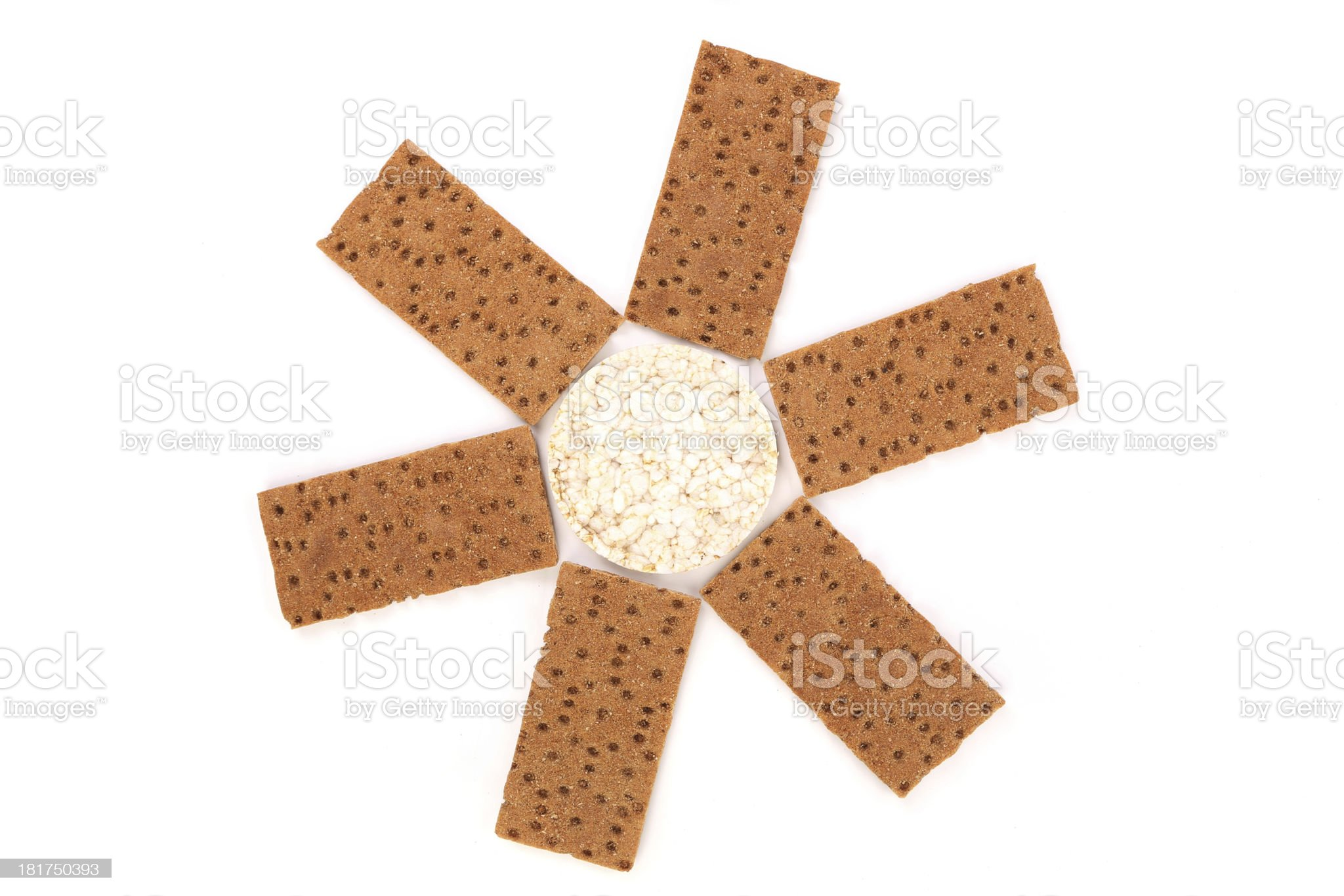 Puffed rice snack and grain crisp bread. royalty-free stock photo
