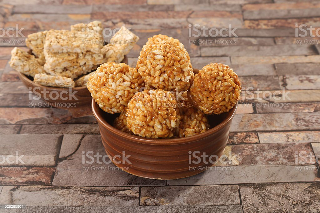 Puffed rice with molasses stock photo