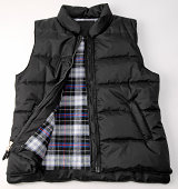 Puffy Black Hunting Vest With Fleece checkered inside