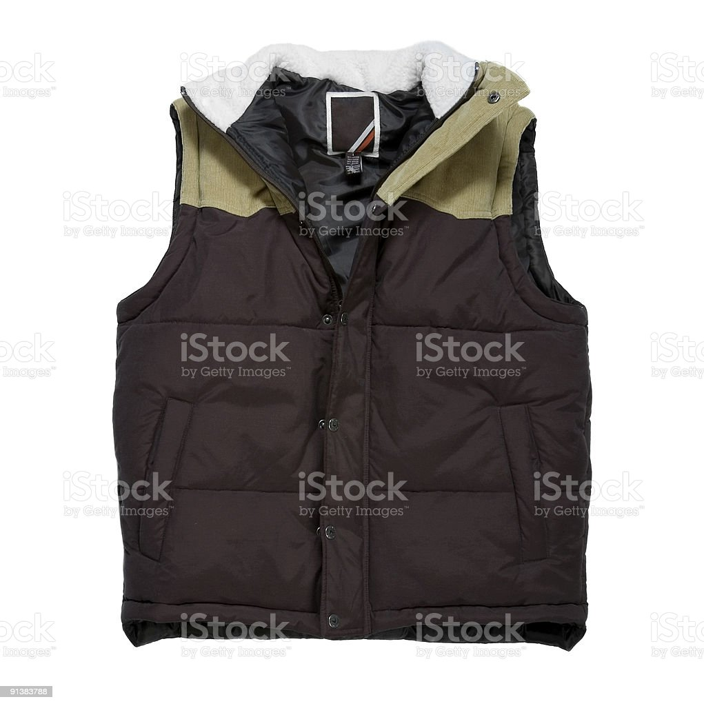 Puffy Brown Hunting Vest With Fleece Collar - White Background stock photo