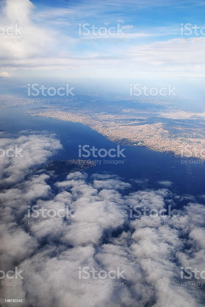 Puffy white clouds on the istanbul royalty-free stock photo