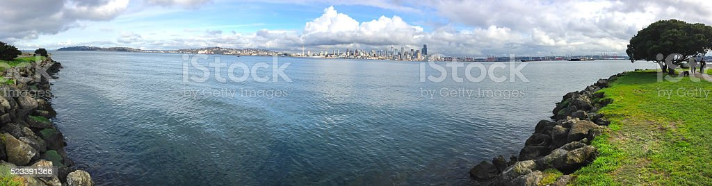 Puget Sound and Seattle Skyline stock photo