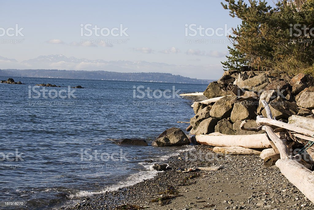 Puget Sound Coastline, near Alki Beach, Seattle royalty-free stock photo