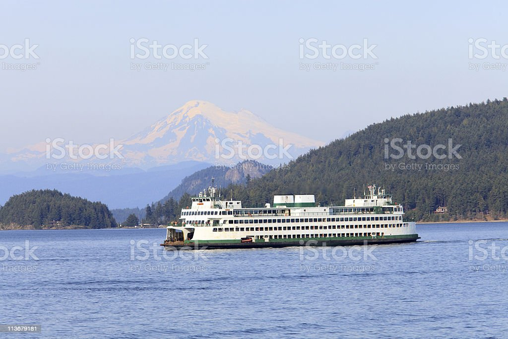 Puget Sound ferry with Mount Baker, Washington in the background stock photo