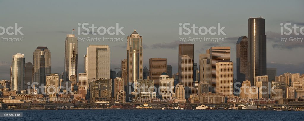 The Seattle Skyline at Dusk royalty-free stock photo