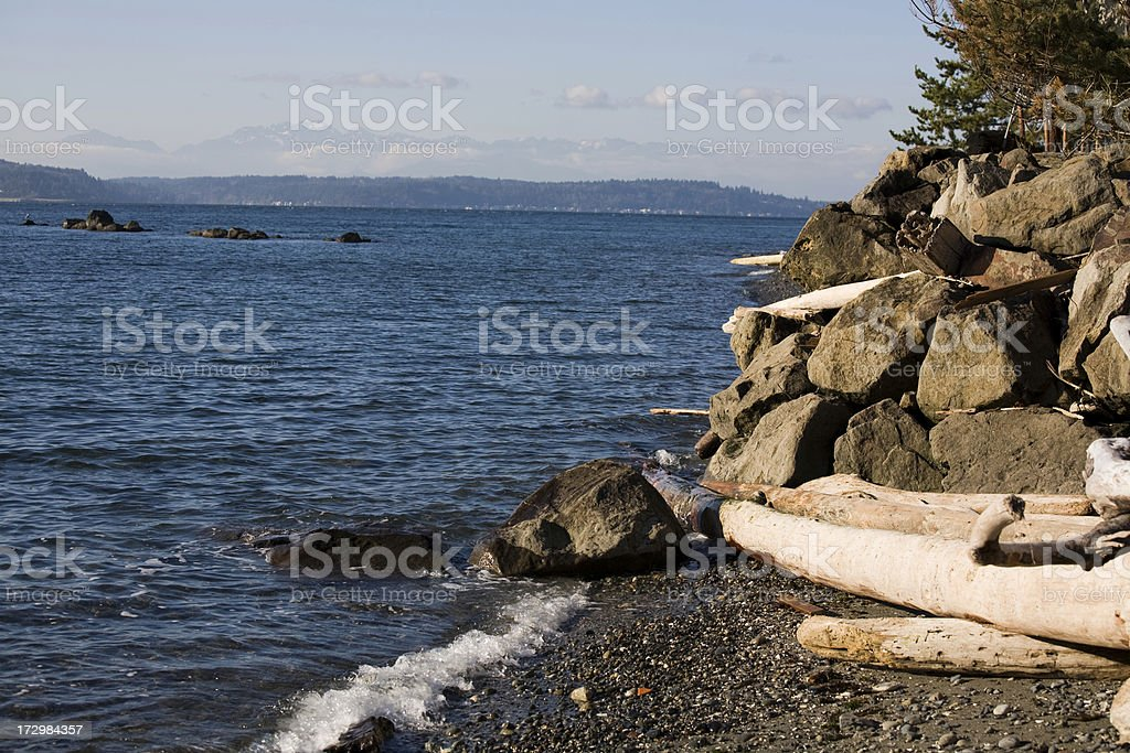 Puget Sound shore line royalty-free stock photo