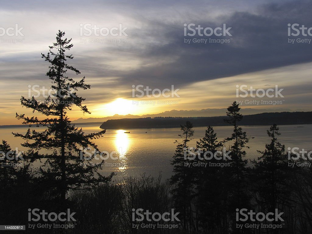 Puget Sound Sunet royalty-free stock photo