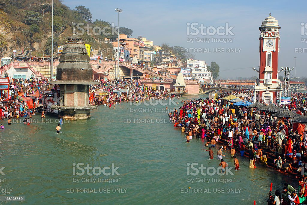 Puja ceremony on the banks of Ganga royalty-free stock photo