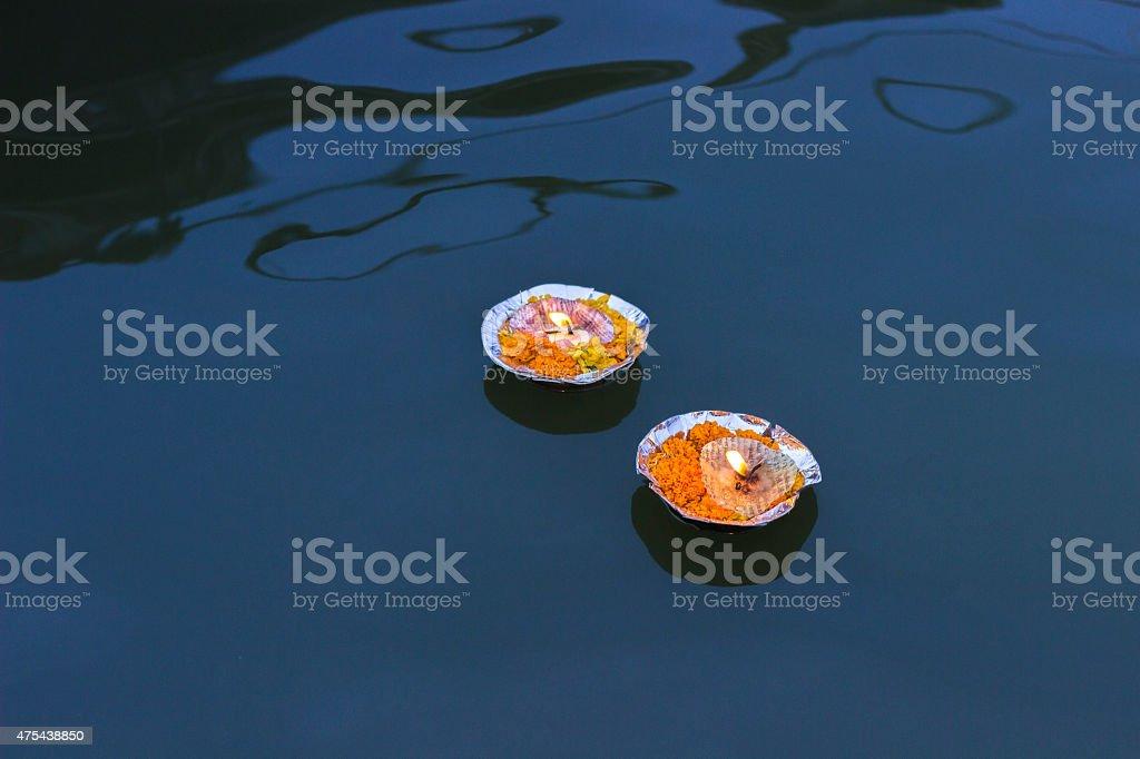Puja In Varanasi, India stock photo