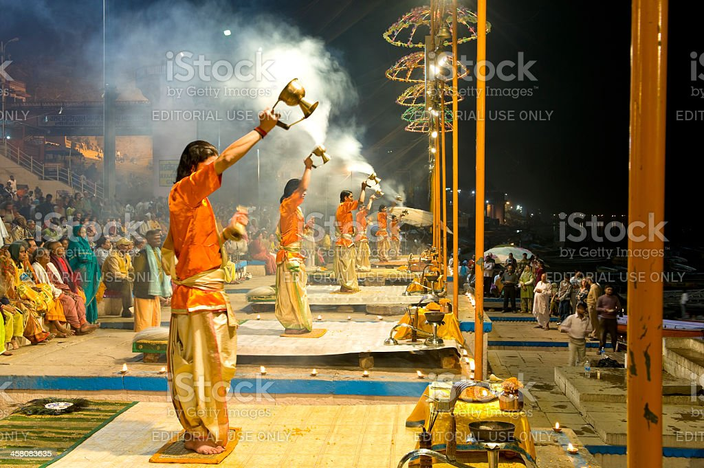 Puja ritual for praising the god of Ganga, India royalty-free stock photo