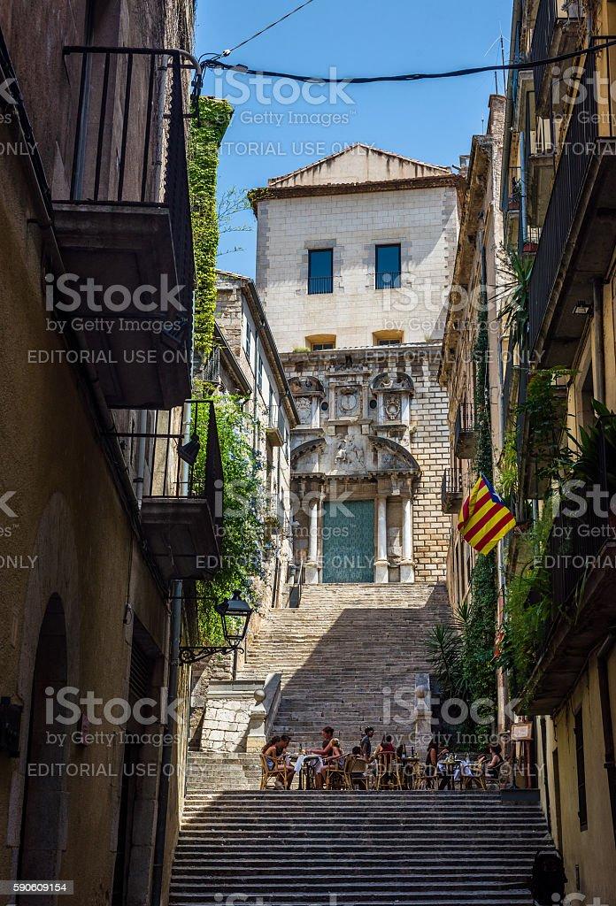 Pujada de Sant Domenec street of Girona. Spain. stock photo