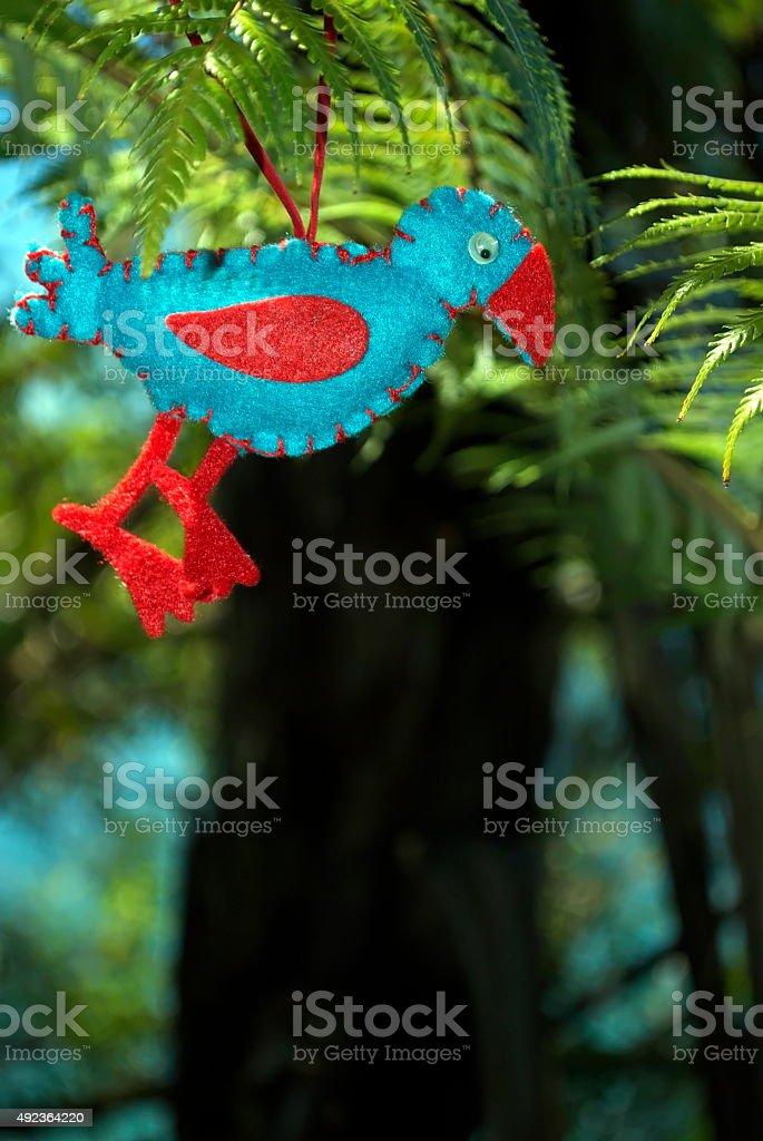 Pukekeo in a Ponga Tree, Kiwiana Christmas Themed Image stock photo