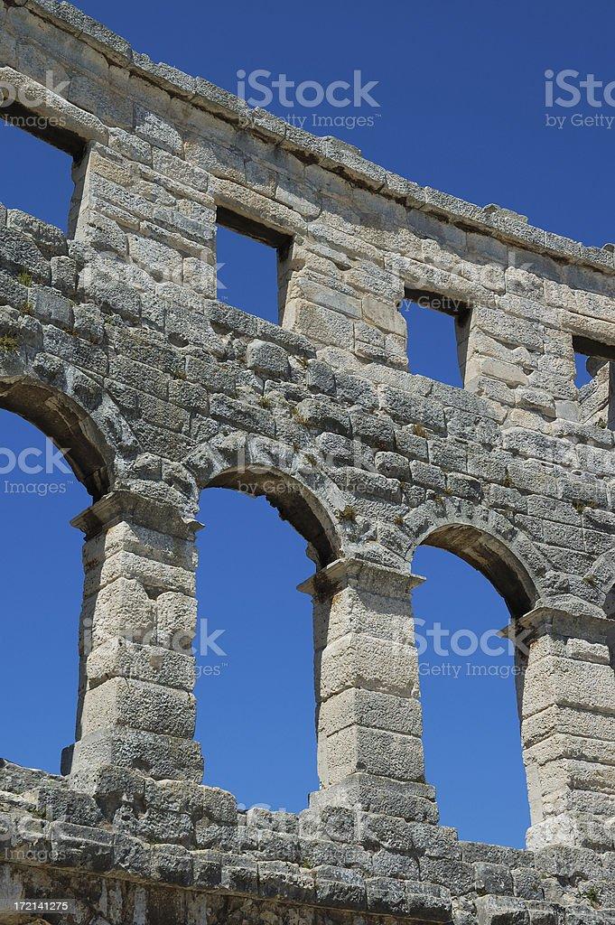 Pula amphitheater walls stock photo