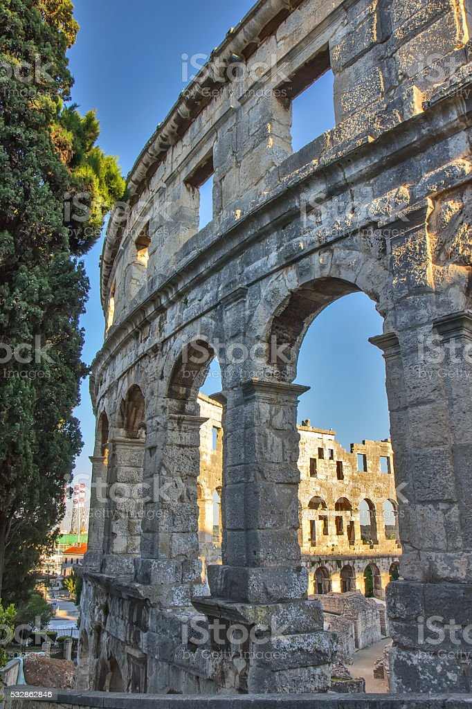 Pula, Croatia - Roman amphitheatre stock photo