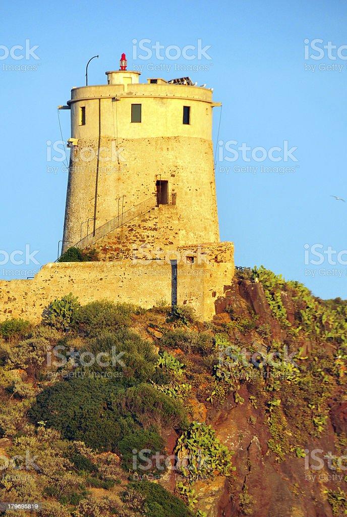 Pula, , Sardinia, Italy: the hilltop Spanish tower of Sant?Efisio stock photo