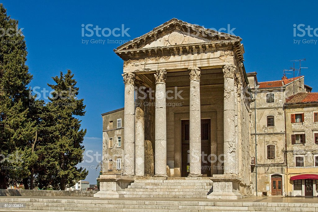 Pula - temple of Augustus stock photo