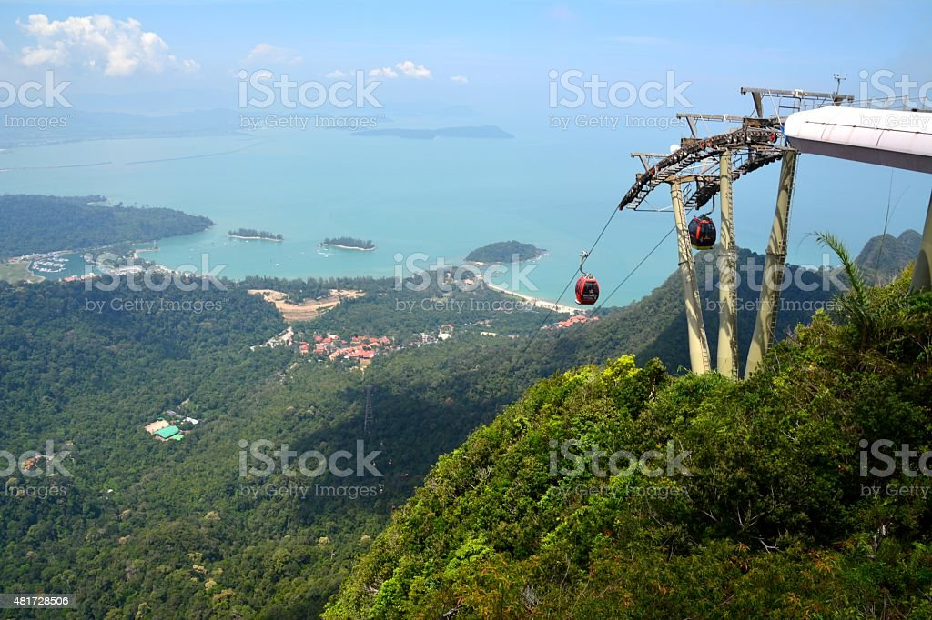Pulau Langkawi cable car landscape view, Malaysia stock photo