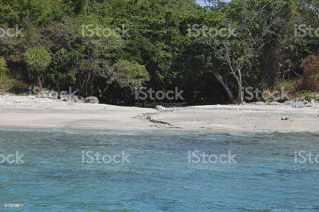 Pulau Moyo, white sand beach stock photo
