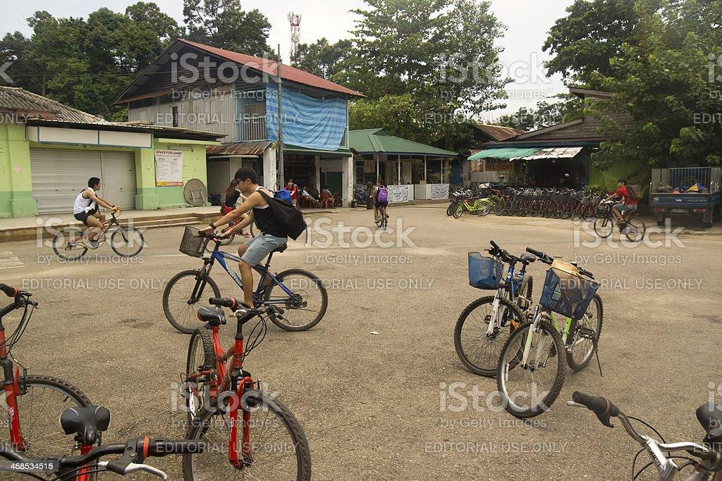 Pulau Ubin - Cyclists stock photo