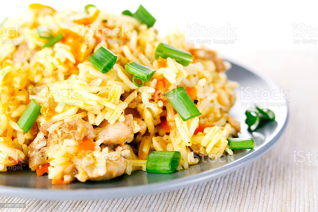 Pulav pilaf fried rice with meat stock photo