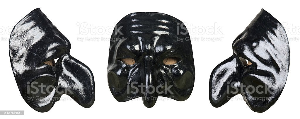 Pulcinella mask on white stock photo