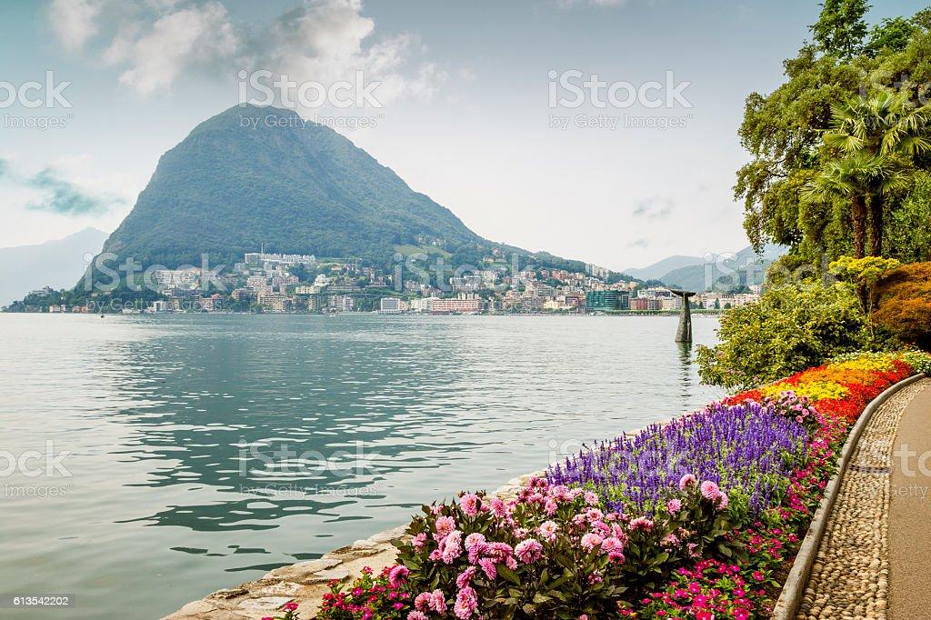Pulic park in Lugano, Switzerland stock photo